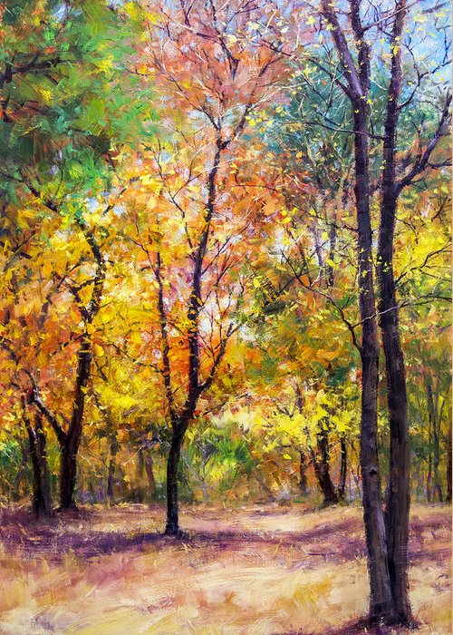 Beautiful Greeting Card featuring the painting Fall Leaves At Indiana University by Bill Inman