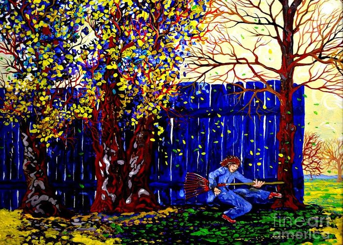 Landscape Fantasy Greeting Card featuring the painting Fall Music 2012 by Michael Taylor