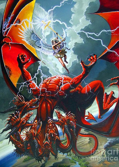 Dragon Greeting Card featuring the painting Fall Of The Hydra by Stanley Morrison