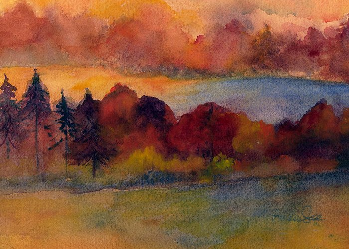 Fall Greeting Card featuring the painting Fall On Lake Champlain by Peggy Maunsell