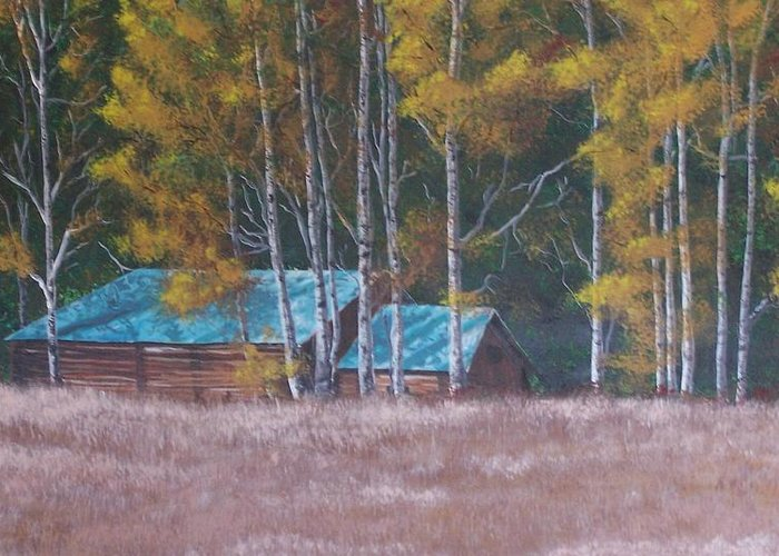 Landscape Greeting Card featuring the painting Fall On The Ranch by Gene Ritchhart