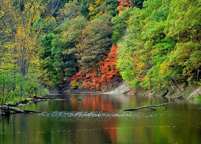 Landscape Greeting Card featuring the photograph Fall Painting by Frozen in Time Fine Art Photography