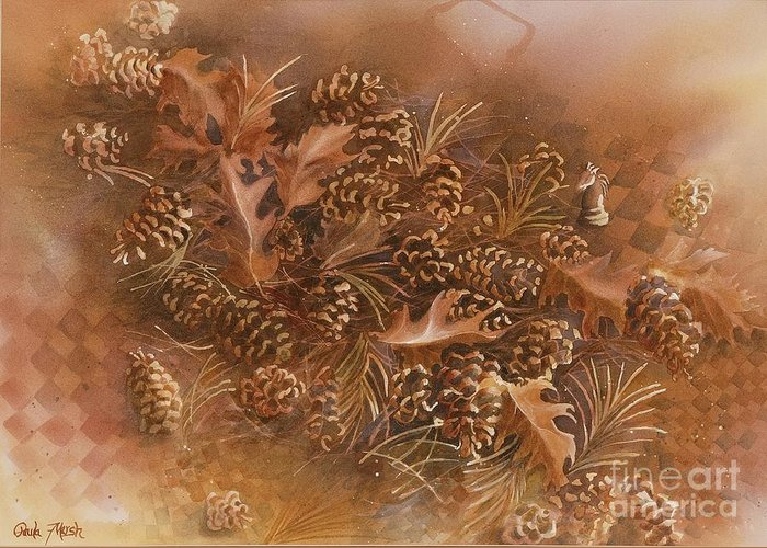 Autumn Greeting Card featuring the painting Fall Pinecones by Paula Marsh