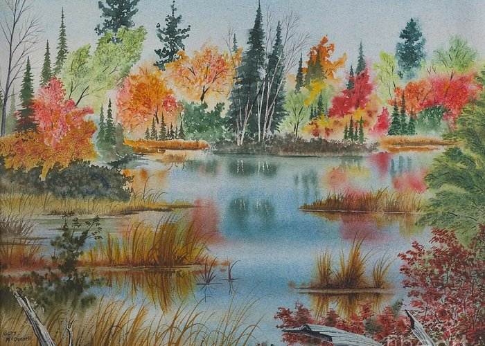 Nature Greeting Card featuring the painting Fall Reflections by Gary McDonnell