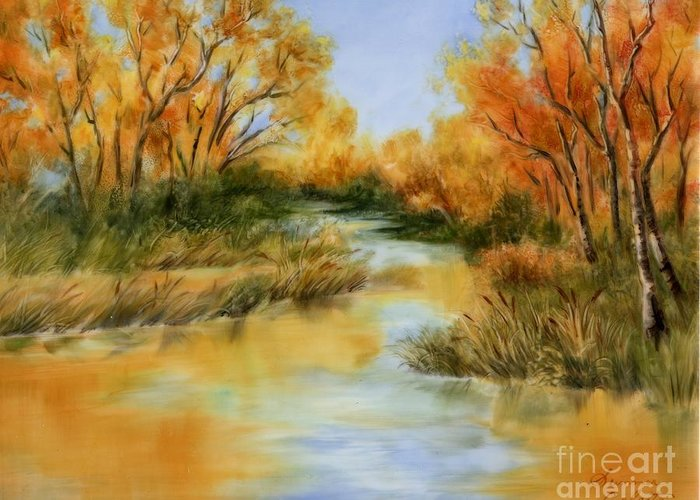 Landscape Greeting Card featuring the painting Fall River by Summer Celeste