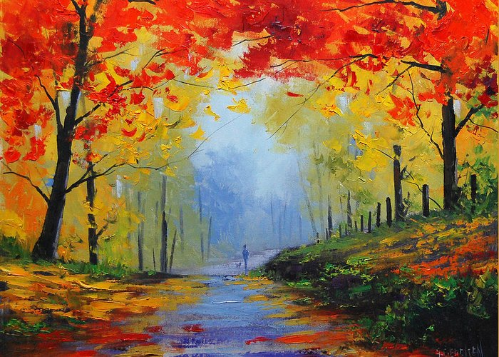 Fall Greeting Card featuring the painting Fall Stroll by Graham Gercken