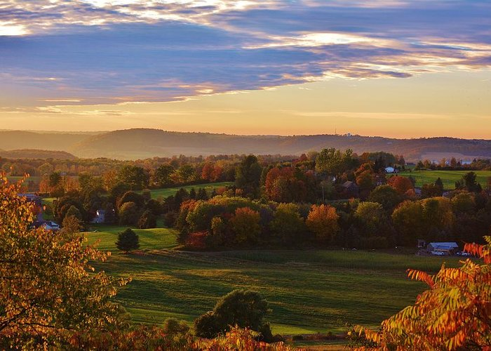 Fall Greeting Card featuring the photograph Fall Sunset by Lisa Kane