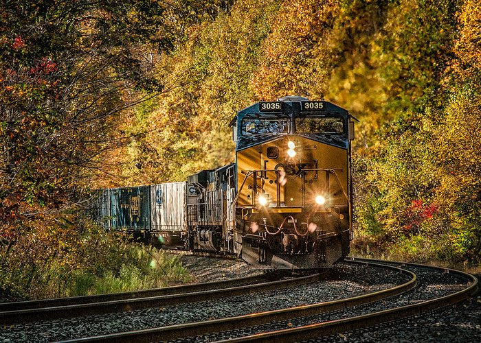 Train Greeting Card featuring the photograph Fall Train by Fred LeBlanc