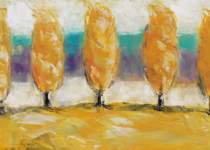 Landscape Greeting Card featuring the painting Fall Trees by Becky Kim