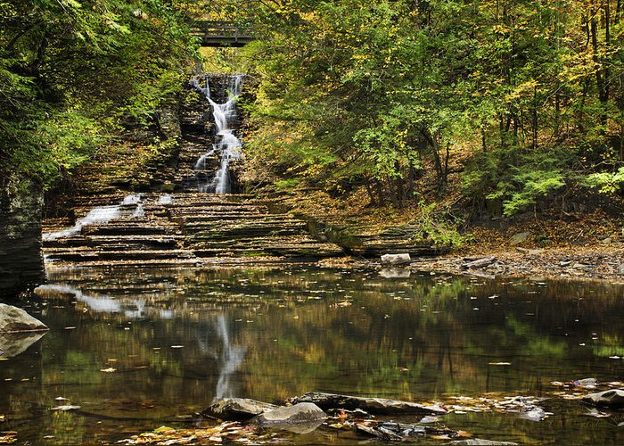 Waterfall Greeting Card featuring the photograph Fall Waterfall Creek Reflection by Christina Rollo
