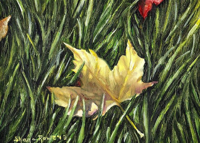 Red Fallen Leave Paintings Greeting Cards