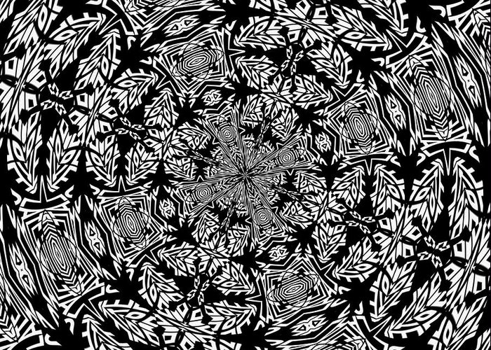 Black Greeting Card featuring the digital art Fallen Leaves Black And White Kaleidoscope by Taiche Acrylic Art