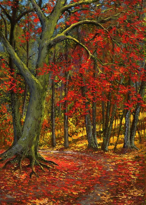 Landscape Greeting Card featuring the painting Fallen Leaves by Frank Wilson