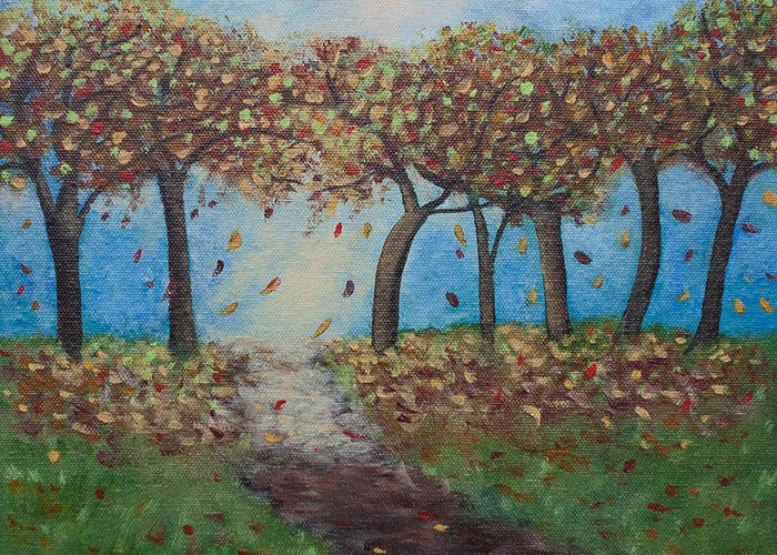 Fall Greeting Card featuring the painting Falling by Sasha Moye