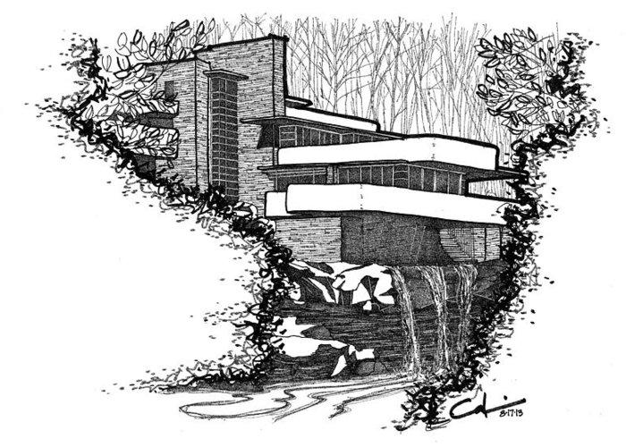 Frank Lloyd Wright Fallingwater 2-sided 500 Piece Puzzle | Galison | 500x700
