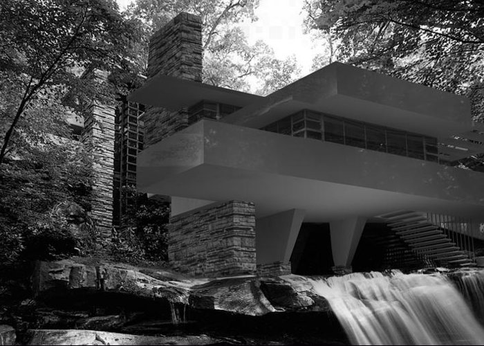 Fallingwaters Greeting Card featuring the digital art Falling waters by Louis Ferreira
