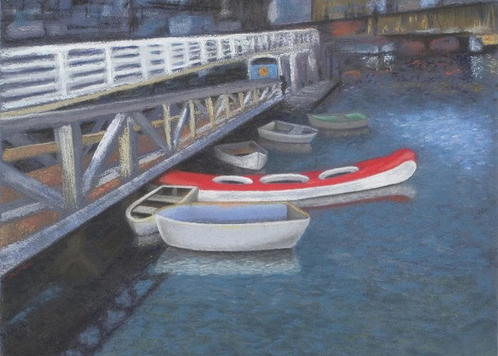 Vancouver Canada False Creek Ferry Landing Boats Water Canoe Pacific Kayak Red British Columbia Landscape Seascape Greeting Card featuring the pastel False Creek Ferry Landing by Brenda Salamone