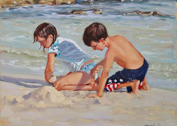 Children Playing On Beach Greeting Cards