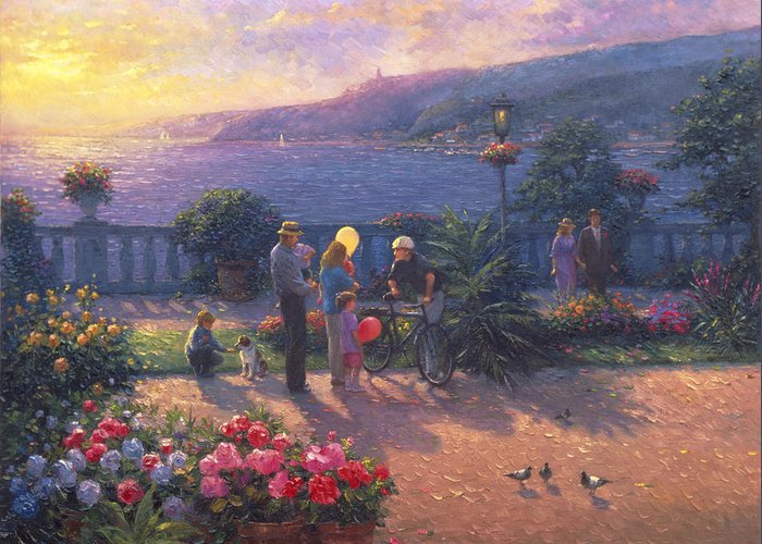 Woman Greeting Card featuring the painting Family Friendly by Ghambaro