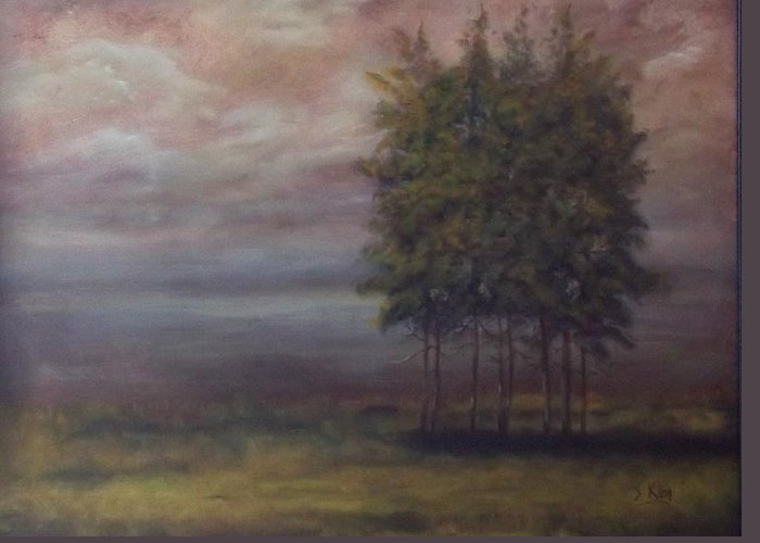 Landscape Greeting Card featuring the painting Family Of Trees by Stephen King