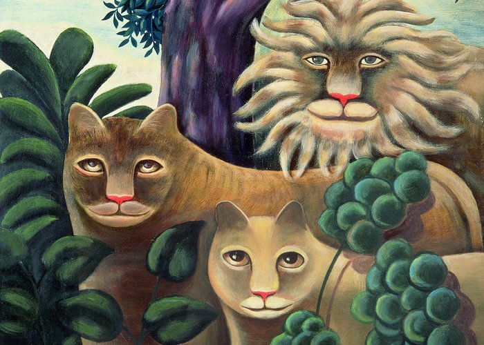 Lion; Lioness; Cub; Family Greeting Card featuring the painting Family Portrait by Jerzy Marek