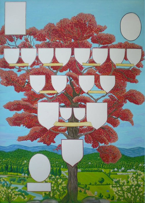 Family Tree Greeting Card featuring the painting Family Tree Ruby-red by Alix Mordant