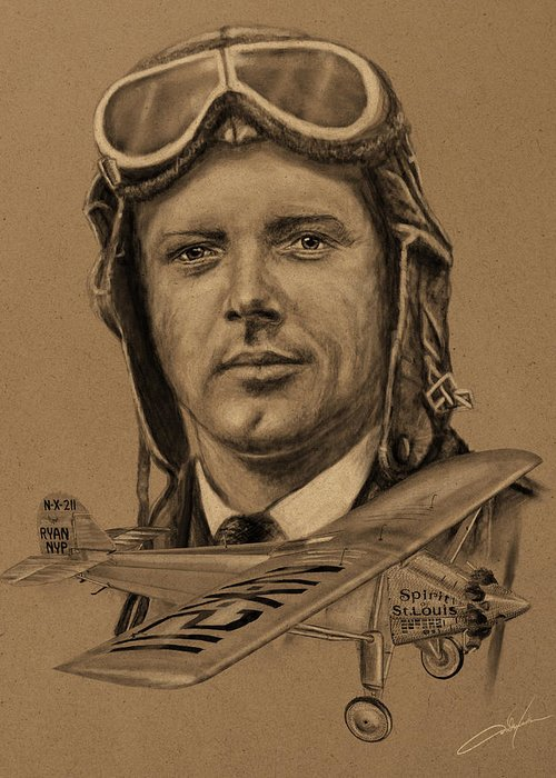 Charles Lindbergh Greeting Card featuring the digital art Famous Aviators Charles Lindbergh by Dale Jackson