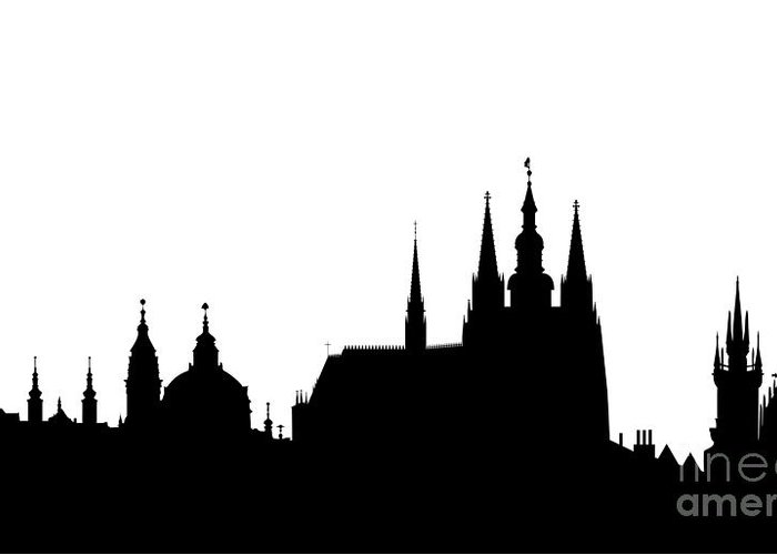 Hradcany Greeting Card featuring the digital art famous landmarks of Prague by Michal Boubin