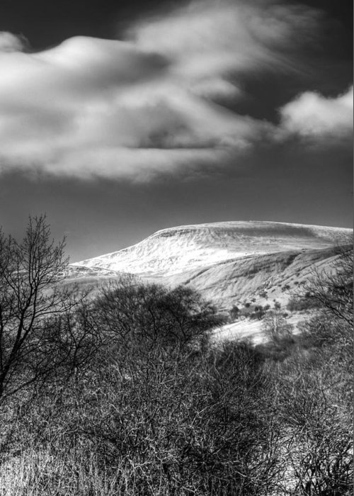 Fan Fawr Mountain Greeting Card featuring the photograph Fan Fawr Brecon Beacons 1 Mono by Steve Purnell