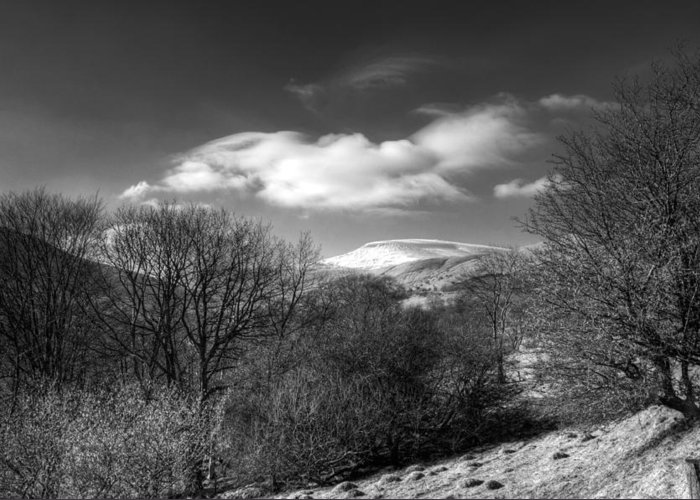 Fan Fawr Mountain Greeting Card featuring the photograph Fan Fawr Brecon Beacons 2 Mono by Steve Purnell