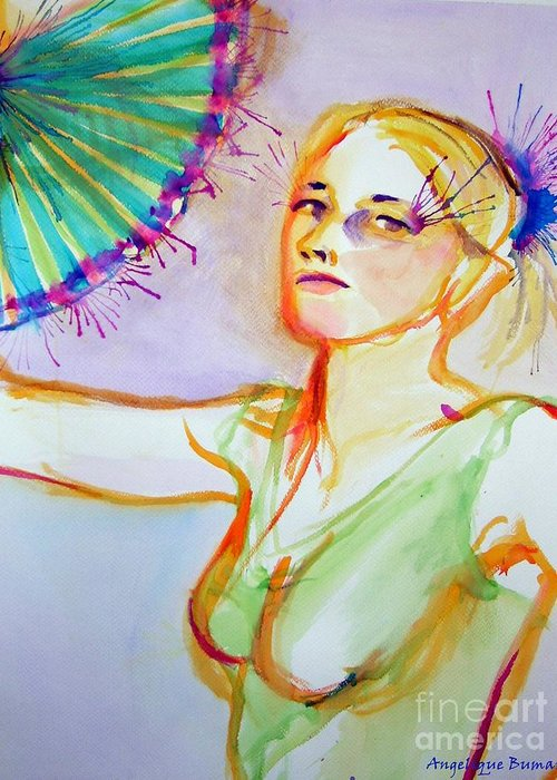 Fan Greeting Card featuring the painting Fan Fetish by Angelique Bowman