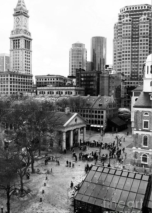 Faneuil Hall Greeting Card featuring the photograph Faneuil Hall Marketplace by John Rizzuto