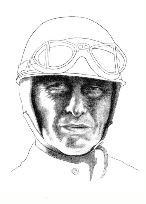 Formula 1 Car Racing Champion Greeting Card featuring the drawing Juan Manuel Fangio by Diane Fine