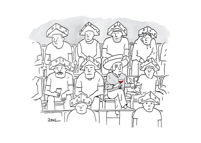 Captionless Greeting Card featuring the drawing Fans At A Football Game Sit In The Stands Wearing by Julian Rowe