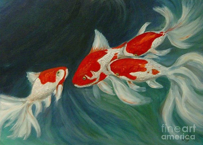 Koi Greeting Card featuring the painting Fantail Koi by Nancy Bradley