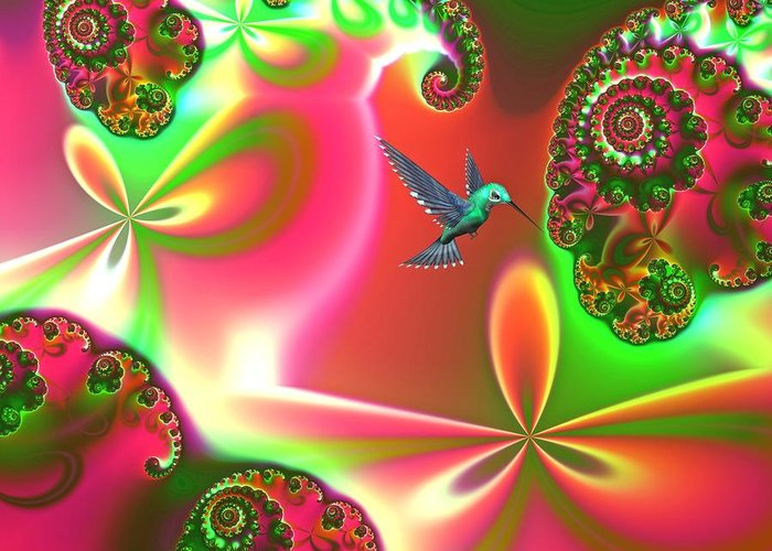 Hummingbirds Greeting Card featuring the digital art Fantasia Landscape by Sharon Lisa Clarke