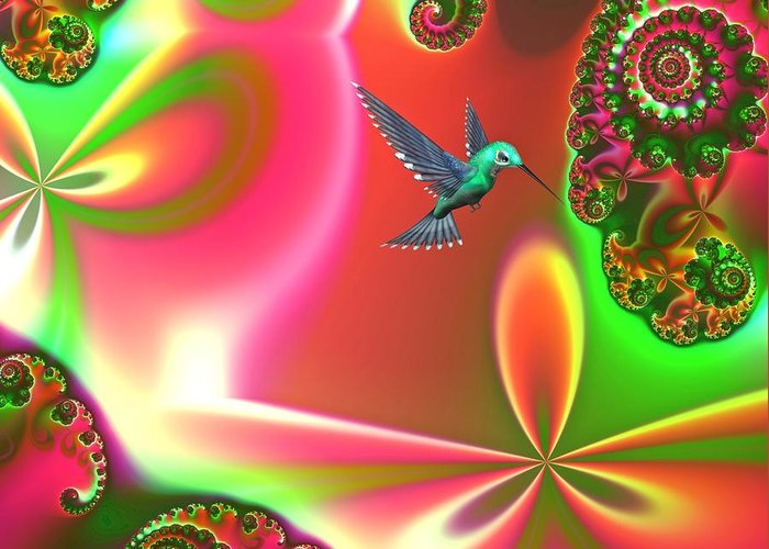 Hummingbirds Greeting Card featuring the digital art Fantasia by Sharon Lisa Clarke