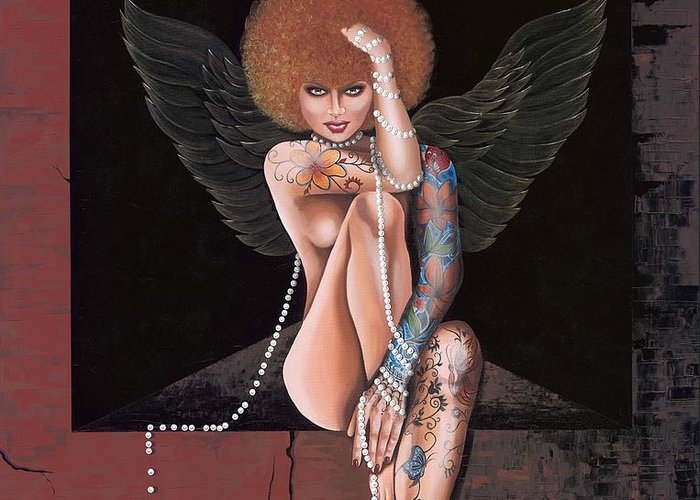Modern Nude Woman Painting Greeting Card featuring the painting Fantasy Angel by Roula Bechara