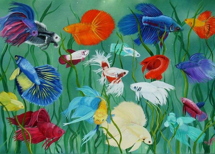 Siamese Fighting Fish Greeting Card featuring the painting Fantasy Bettas by Debbie LaFrance