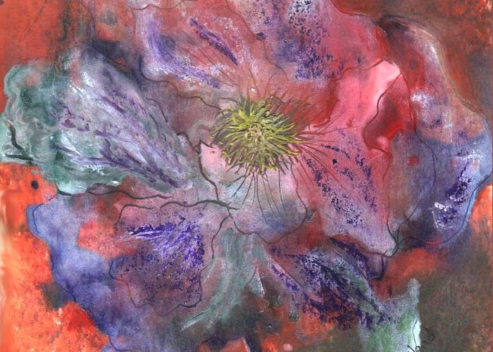 Blue Greeting Card featuring the painting Fantasy Clematis by Carol Rowland