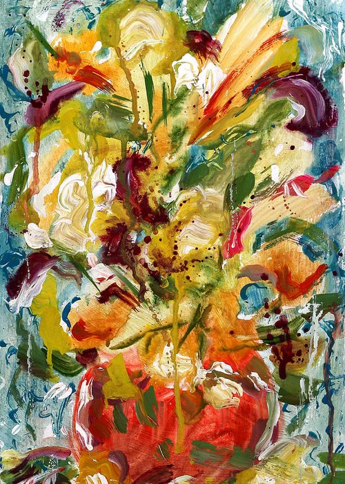Abstract Vase Flower Print Greeting Card featuring the painting Fantasy Floral 1 by Carole Goldman