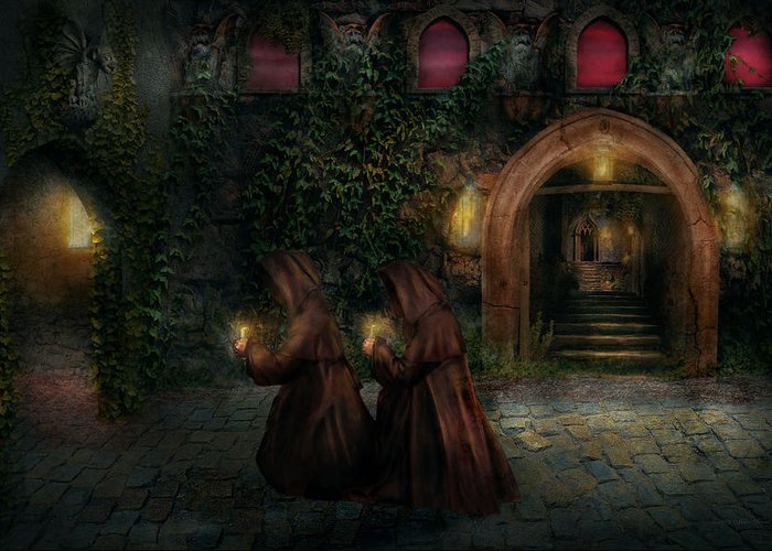 Witch Greeting Card featuring the photograph Fantasy - Into The Night by Mike Savad
