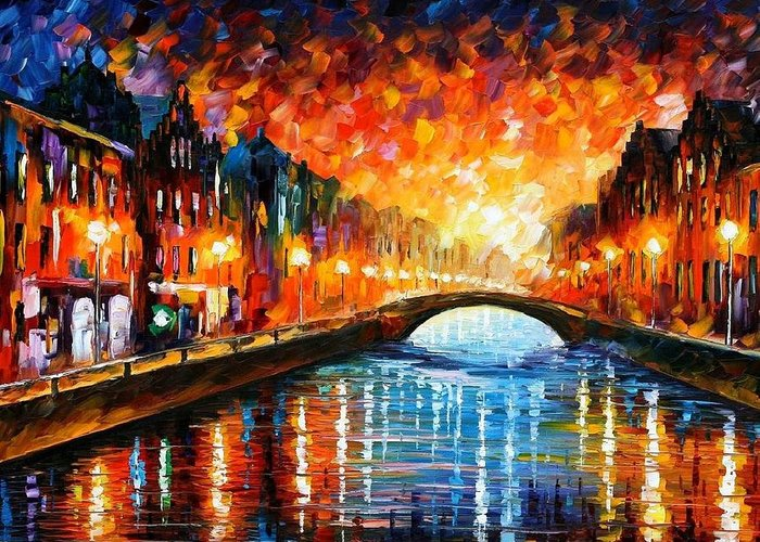 Afremov Greeting Card featuring the painting Farewell by Leonid Afremov