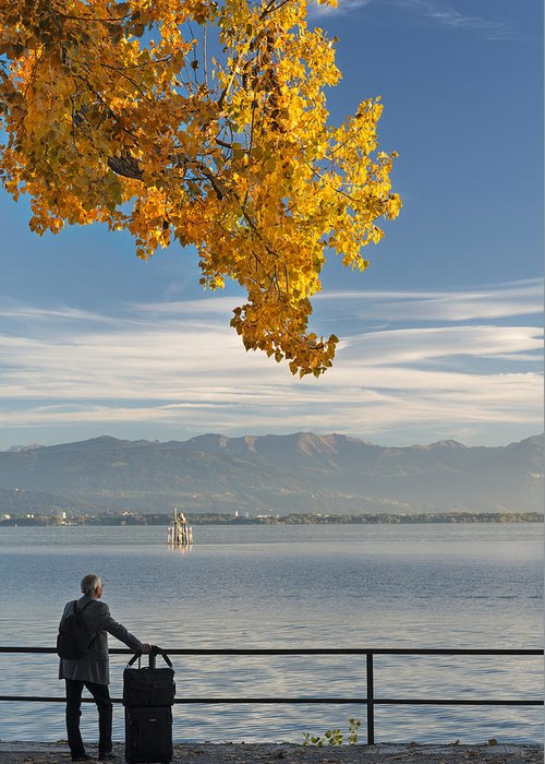 Lindau Greeting Card featuring the photograph Farewell To The Lake by Holger Spiering