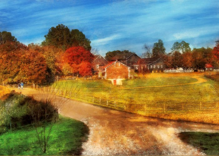 Savad Greeting Card featuring the digital art Farm - Barn - A Walk In The Country by Mike Savad