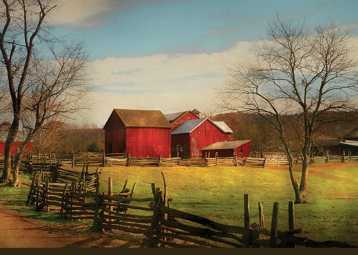 Savad Greeting Card featuring the photograph Farm - Barn - Just Up The Path by Mike Savad