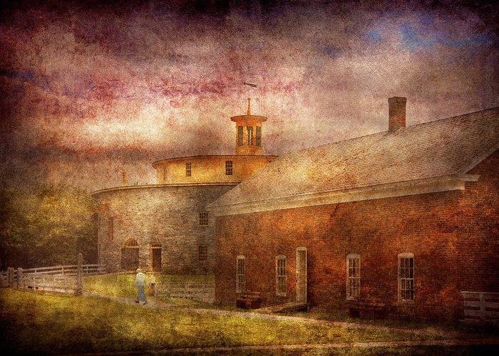 Hdr Greeting Card featuring the photograph Farm - Barn - Shaker Barn by Mike Savad