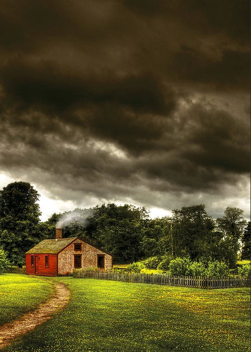 Savad Greeting Card featuring the photograph Farm - Barn - Storms A Comin by Mike Savad