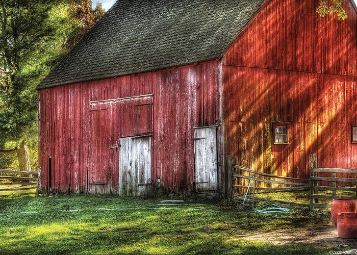 Savad Greeting Card featuring the photograph Farm - Barn - The Old Red Barn by Mike Savad