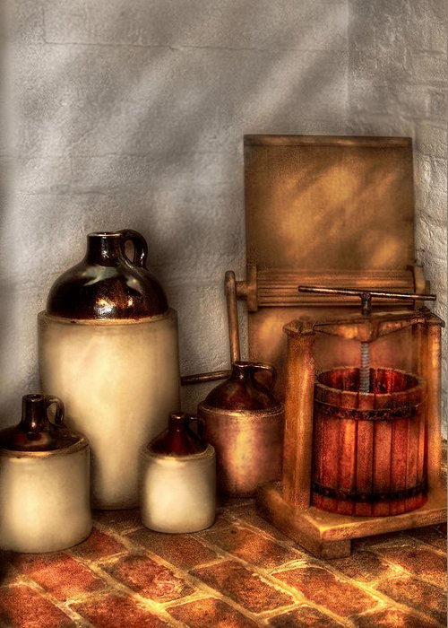 Savad Greeting Card featuring the photograph Farm - Bottles - Let's Make Some Apple Juice by Mike Savad